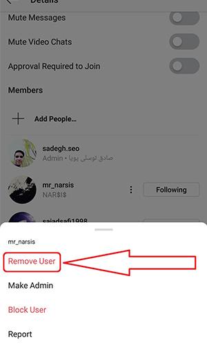 حذف افراد از گروه اینستاگرام