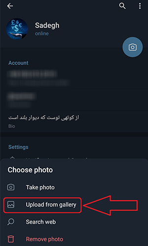 چطور در تلگرام عکس پروفایل بگذاریم